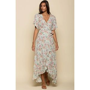 Raga NWT Secret Escape Floral Faux Wrap Maxi Dress
